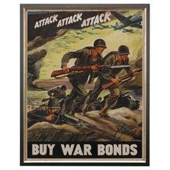 """""""Attack Attack Attack Buy War Bonds"""" Vintage WWII Poster by Ferdinand Warren"""