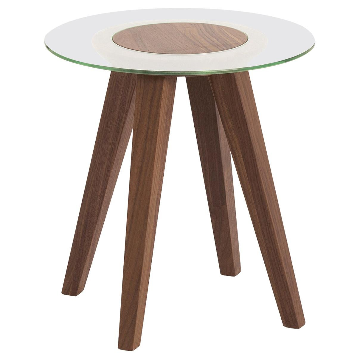 Attesa Tall Side Table with Glass Top