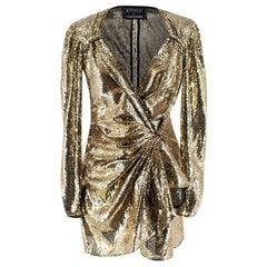 Attico for Luisaviaroma Gold Sequin Tie-Waist Mini Dress 40