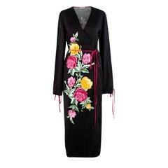 Attico Grace Floral Print Black Satin Kimono-Style Wrap Dress