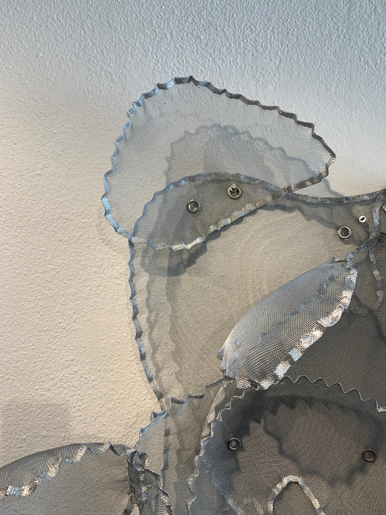 Aerophene VI, Atticus Adams Metal Mesh Wall Sculpture Screen Shadow Silver For Sale 2