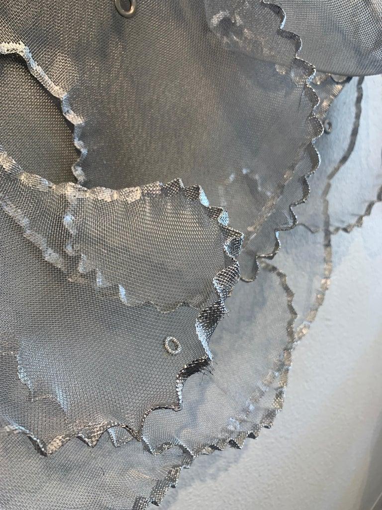 Aerophene VI, Atticus Adams Metal Mesh Wall Sculpture Screen Shadow Silver For Sale 3