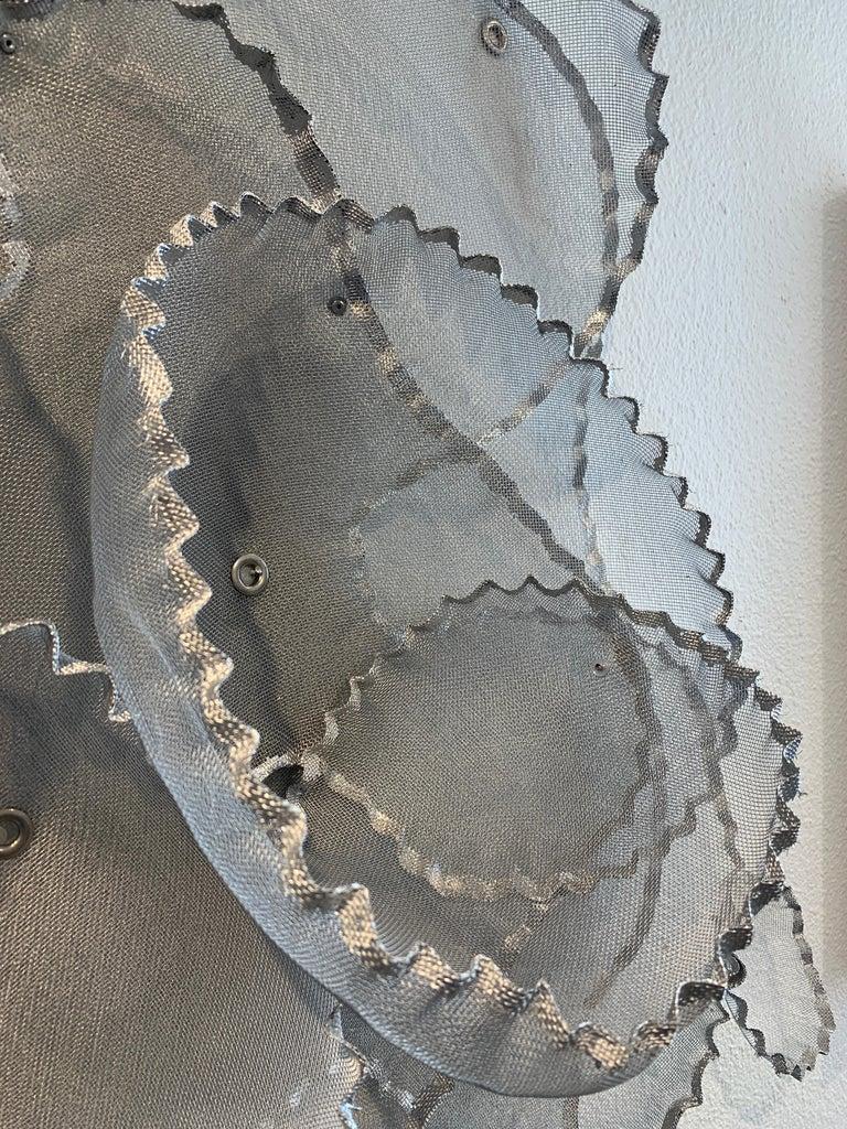 Aerophene VI, Atticus Adams Metal Mesh Wall Sculpture Screen Shadow Silver For Sale 4