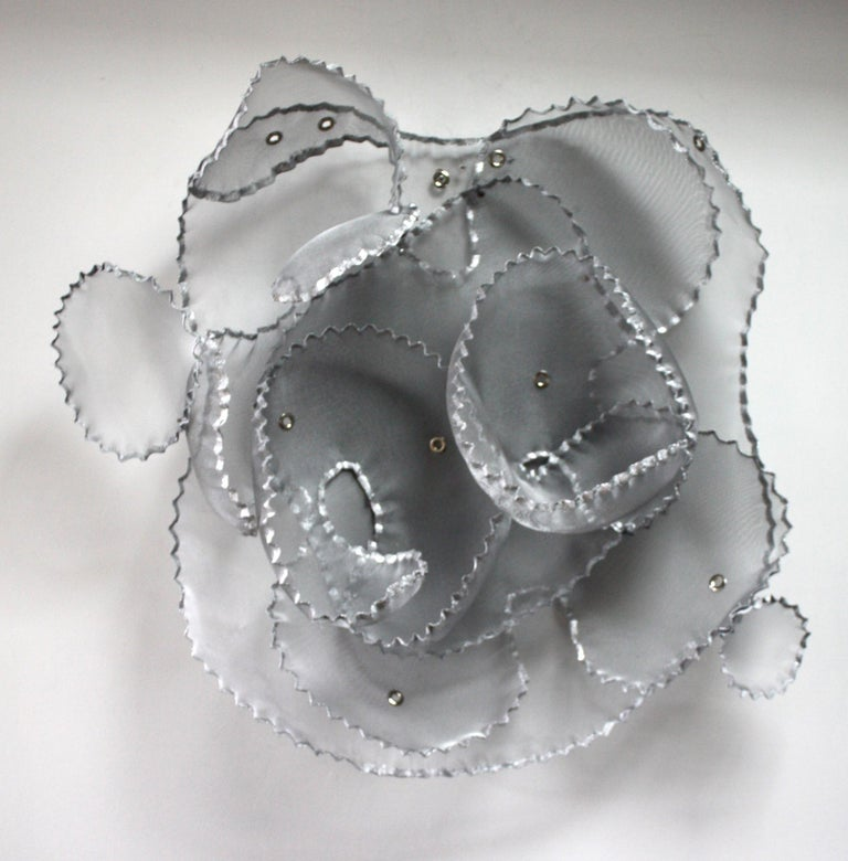 Aerophene VI, Atticus Adams Metal Mesh Wall Sculpture Screen Shadow Silver - Mixed Media Art by Atticus Adams