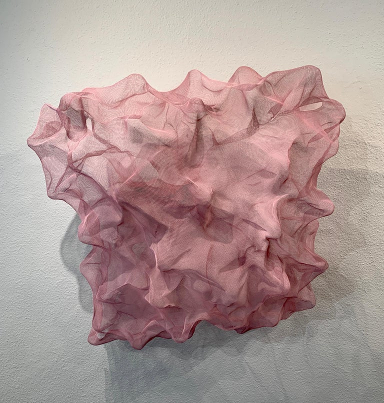 Cotton Candy Cloud, Atticus Adams Pink Metal Mesh Sculpture Screen - Contemporary Mixed Media Art by Atticus Adams