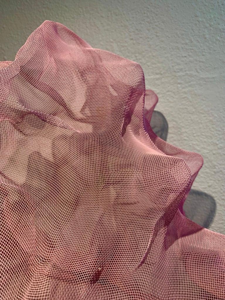 Cotton Candy Cumulus III, Atticus Adams Pink Metal Mesh Sculpture Screen For Sale 1