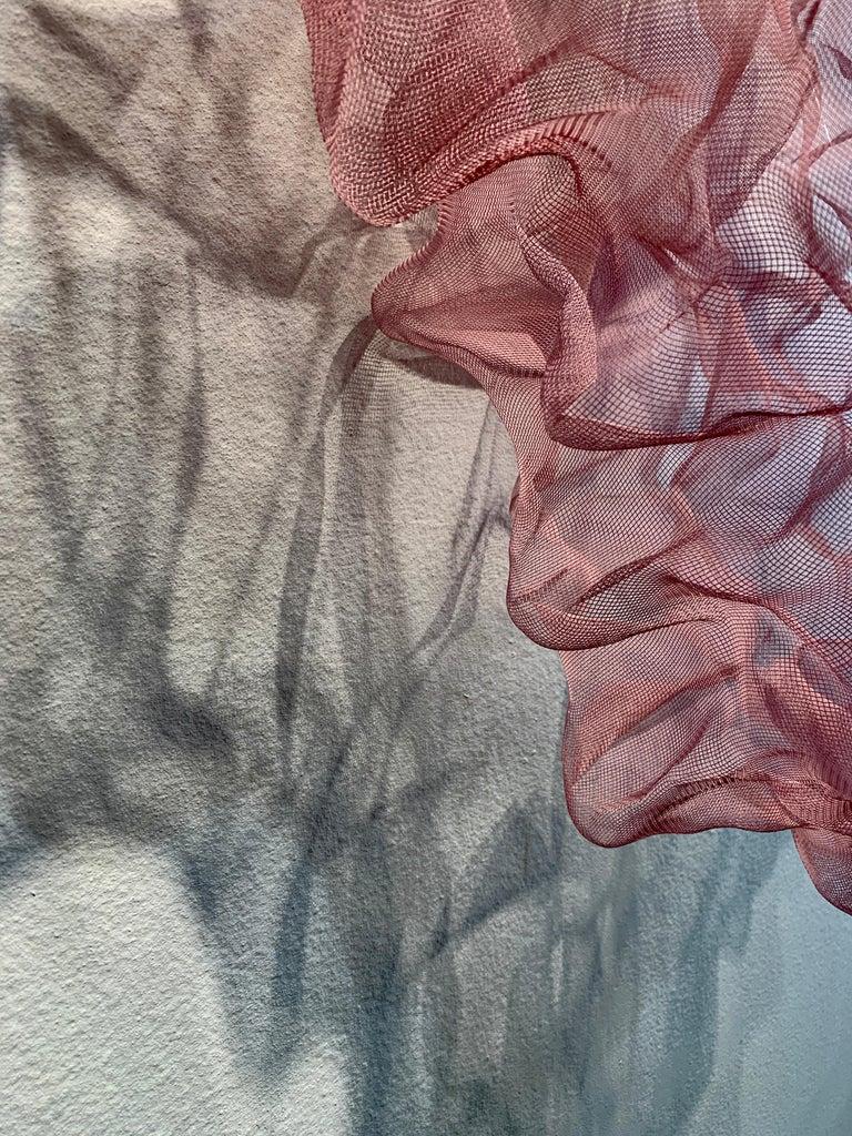 Cotton Candy Cumulus III, Atticus Adams Pink Metal Mesh Sculpture Screen For Sale 3