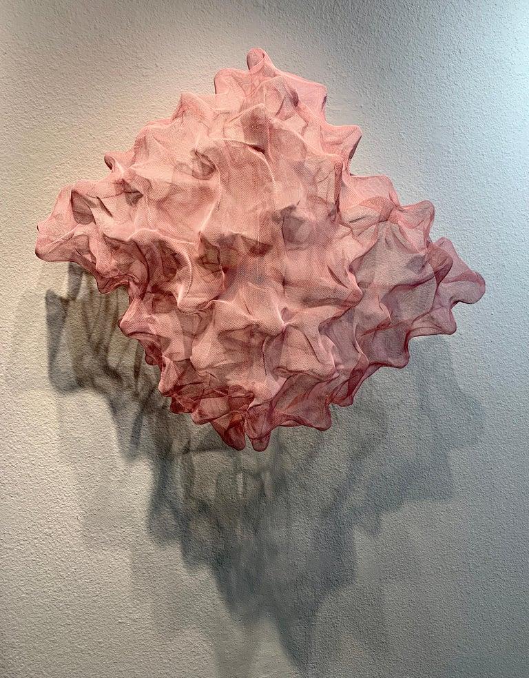 Cotton Candy Cumulus III, Atticus Adams Pink Metal Mesh Sculpture Screen - Brown Abstract Sculpture by Atticus Adams