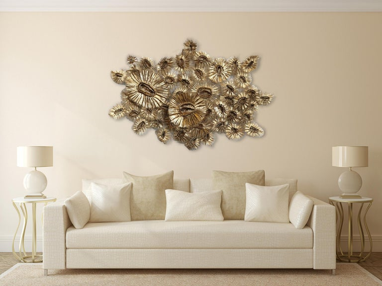 Flora Chanel Gilded  - Large Three-Dimensional Wall Art - Contemporary Mixed Media Art by Atticus Adams