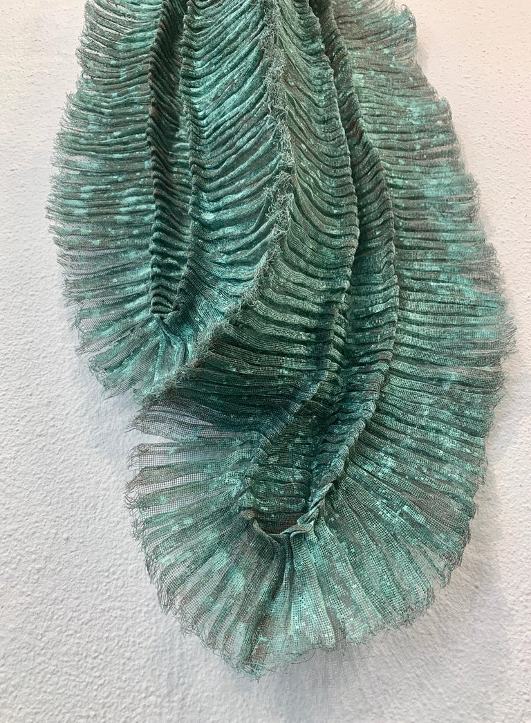 "Flora Dido, Atticus Adams Mesh Wall Sculpture Copper Mesh & Verdigris Patina  Metal fiber sculpture that incorporates fascinating light and shadow into its form. ​​ From Atticus Adams: ​ ""I like to think of my work as Neo-Appalachian Folk"