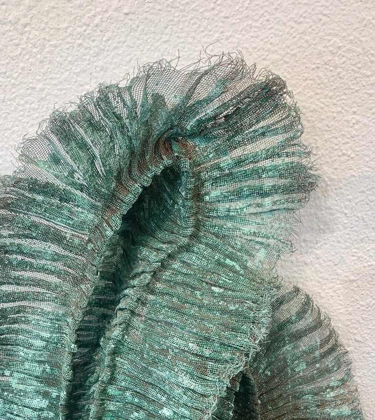 Flora Dido, Atticus Adams Mesh Wall Sculpture Copper Mesh & Verdigris Patina For Sale 1