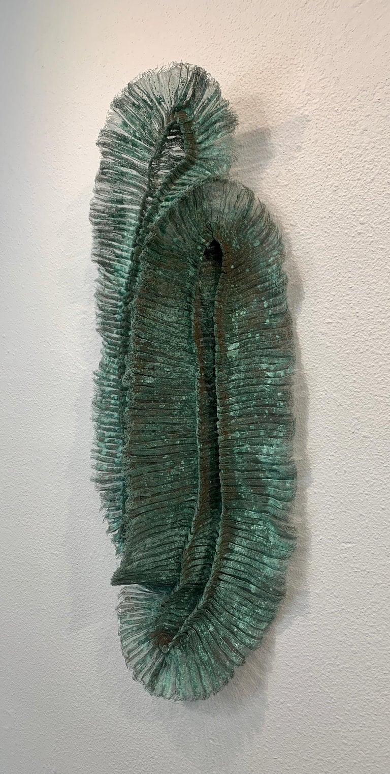 Flora Dido, Atticus Adams Mesh Wall Sculpture Copper Mesh & Verdigris Patina For Sale 2