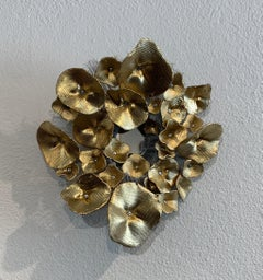 Flora Narcissus - Golden Hydrangea, Atticus Adams Mesh & Mirror Wall Sculpture