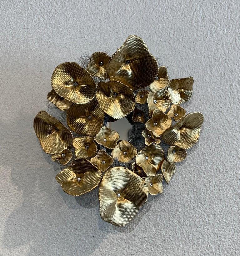 Flora Narcissus - Golden Hydrangea, Atticus Adams Mesh & Mirror Wall Sculpture - Gray Abstract Sculpture by Atticus Adams