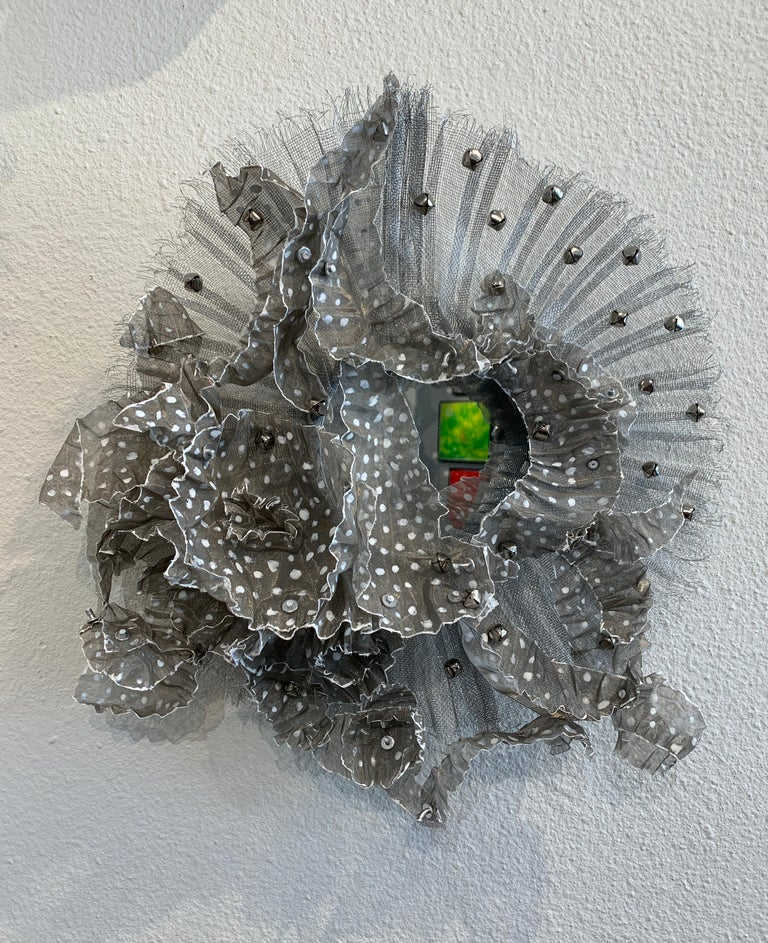 Flora Narcissus - Stainless Leaves, Atticus Adams Metal Mesh & Mirror Wall Sculpture Silver Aluminum  Metal fiber sculpture that incorporates a mirror, fascinating light and shadow into its form.  NOTE:  This piece can be combined with the OTHER