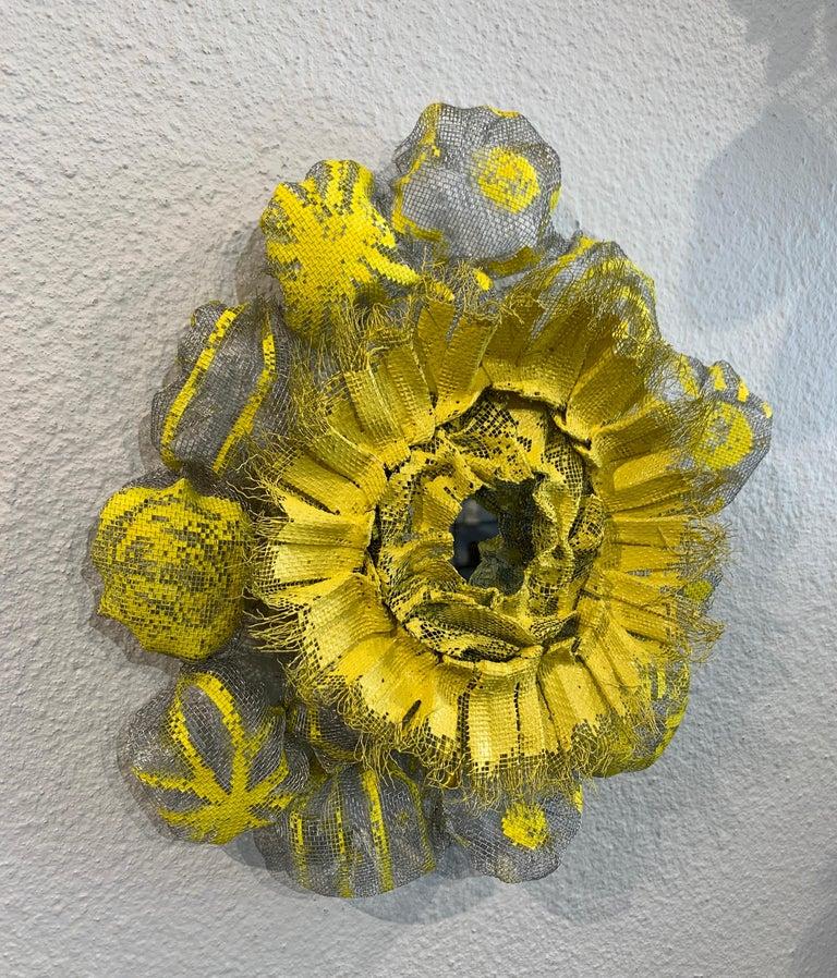 Flora Narcissus - Yellow Burst, Atticus Adams Metal Mesh & Mirror Wall Sculpture For Sale 1