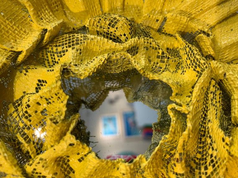 Flora Narcissus - Yellow Burst, Atticus Adams Metal Mesh & Mirror Wall Sculpture For Sale 2