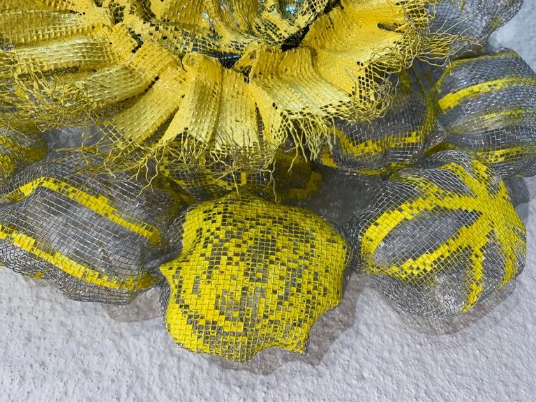 Flora Narcissus - Yellow Burst, Atticus Adams Metal Mesh & Mirror Wall Sculpture For Sale 3
