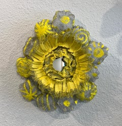 Flora Narcissus - Yellow Burst, Atticus Adams Metal Mesh & Mirror Wall Sculpture