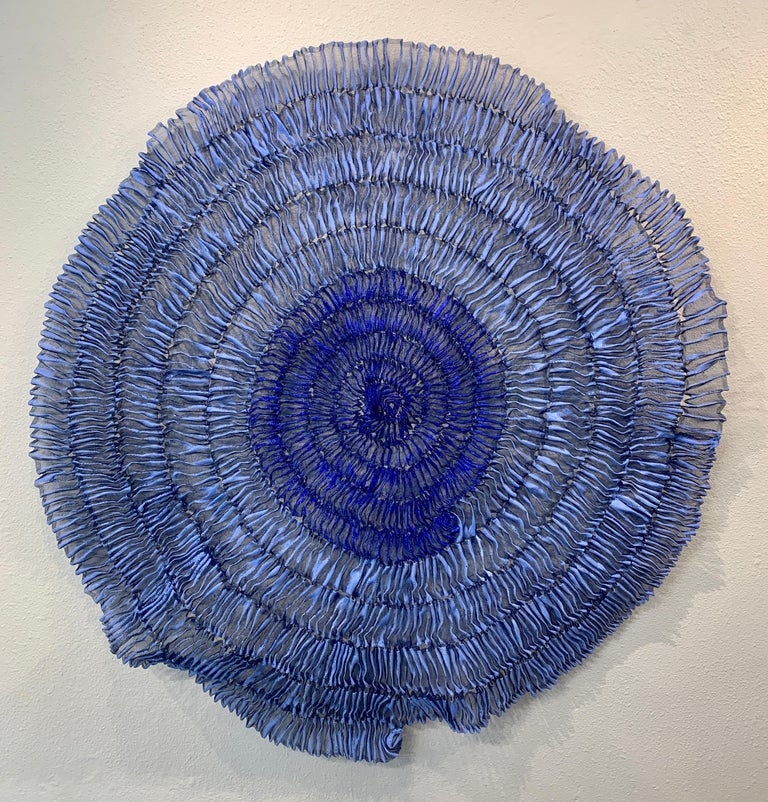 Sujoon II (Cornflower & Cobalt), Atticus Adams Mesh Wall Sculpture Screen Shadow For Sale 8