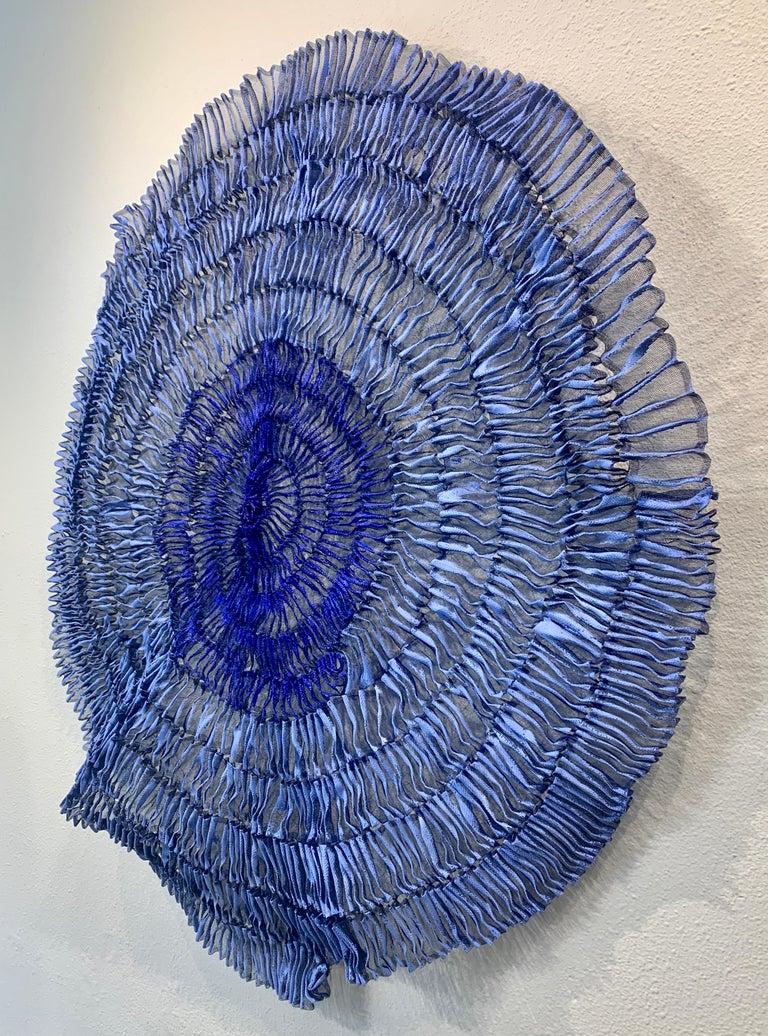 Sujoon II (Cornflower & Cobalt), Atticus Adams Mesh Wall Sculpture Screen Shadow - Contemporary Mixed Media Art by Atticus Adams