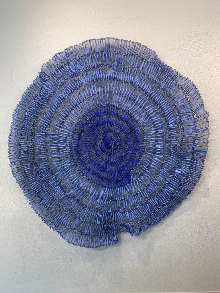 Sujoon II (Cornflower & Cobalt), Atticus Adams Mesh Wall Sculpture Screen Shadow - Mixed Media Art by Atticus Adams