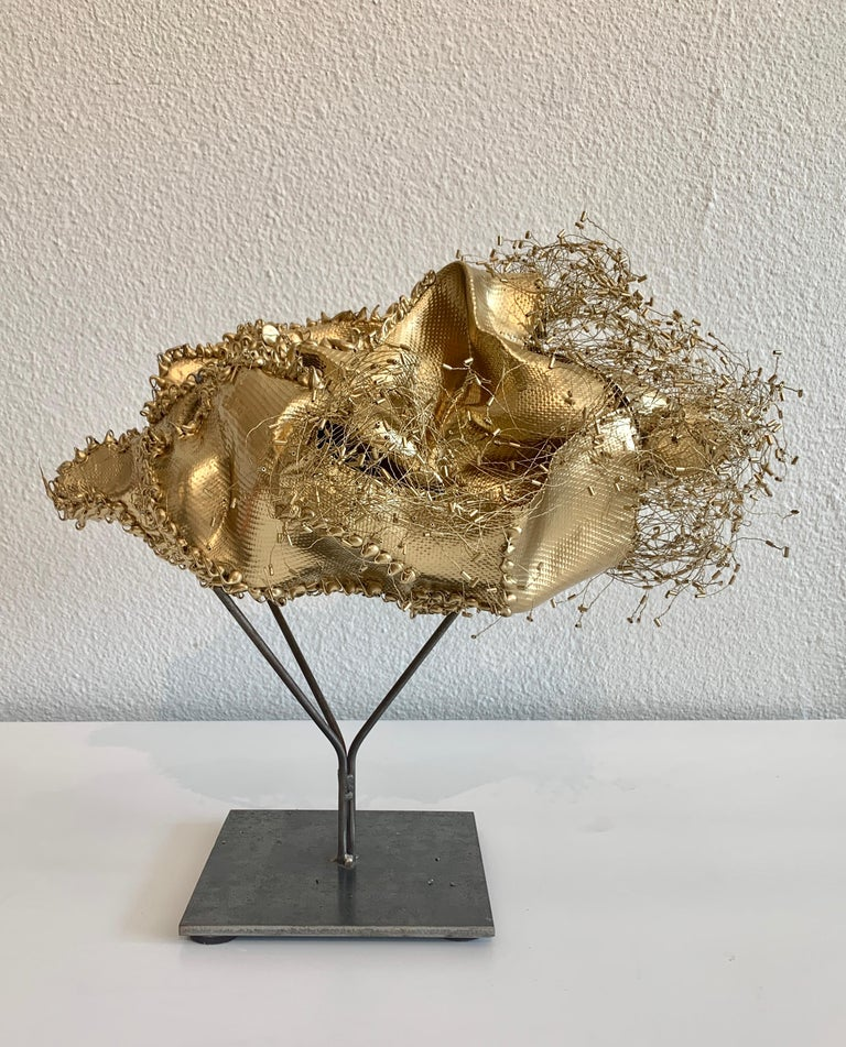 The Gathering Gilded, Atticus Adams Gold Metal Mesh Standing Sculpture - Contemporary Mixed Media Art by Atticus Adams