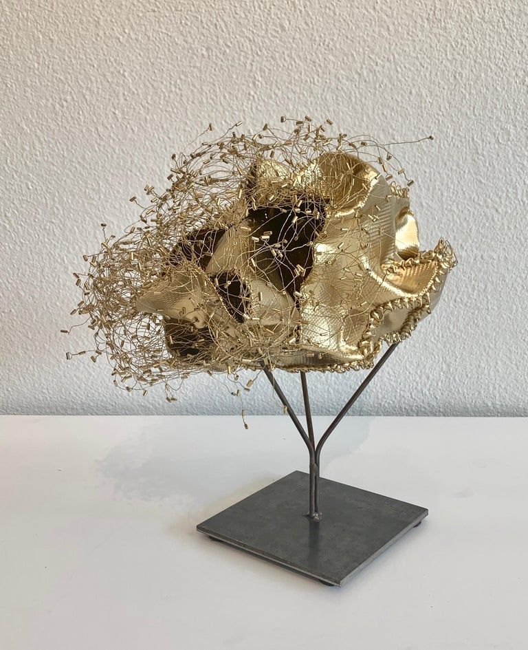 The Gathering Gilded, Atticus Adams Gold Metal Mesh Standing Sculpture For Sale 2