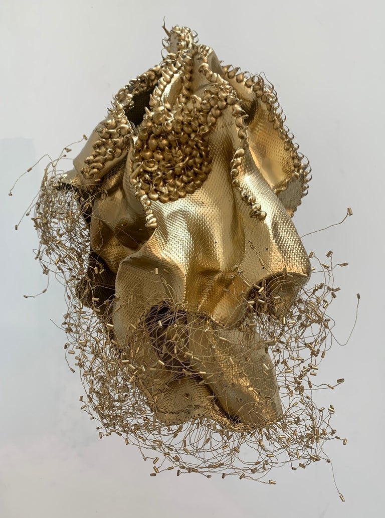 The Gathering Gilded, Atticus Adams Gold Metal Mesh Standing Sculpture For Sale 4