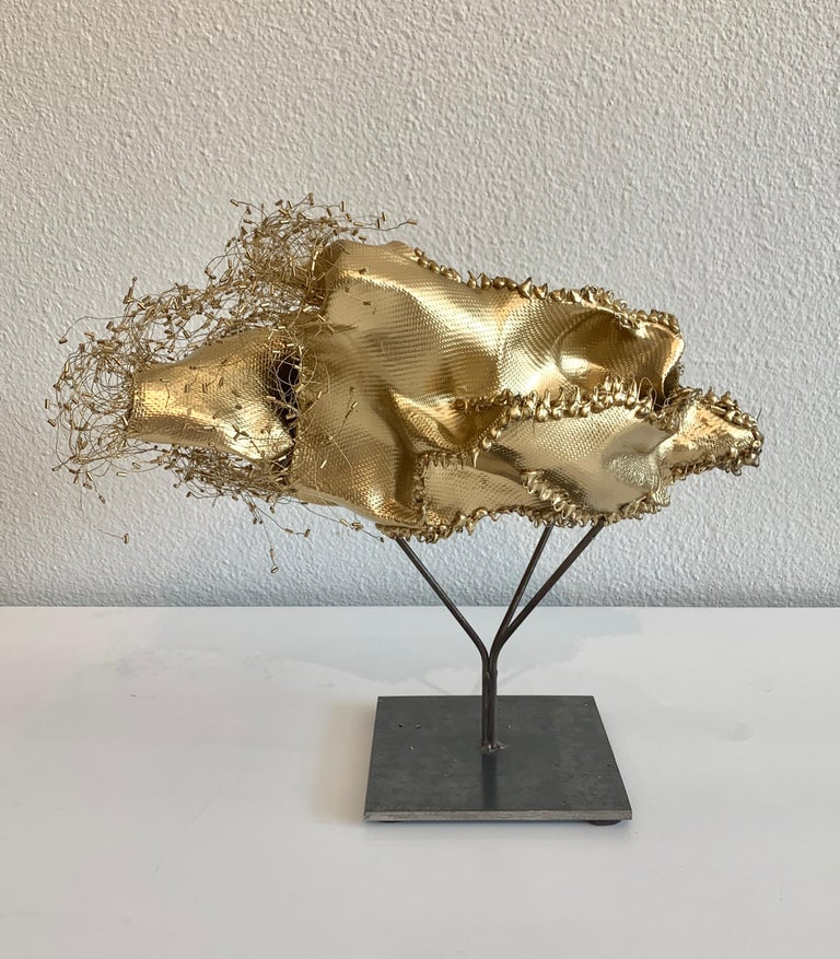 The Gathering Gilded, Atticus Adams Gold Metal Mesh Standing Sculpture For Sale 5