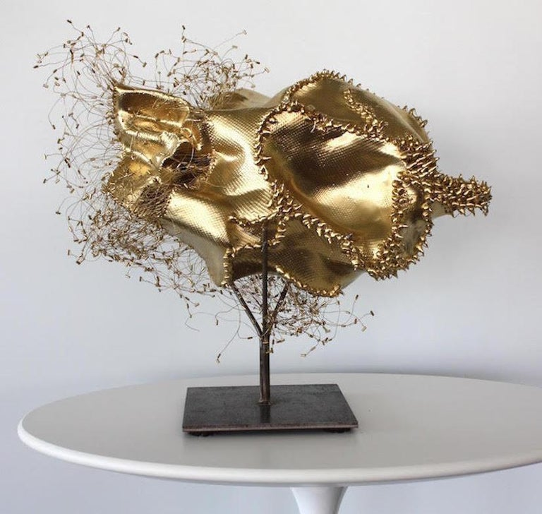 The Gathering Gilded, Atticus Adams Gold Metal Mesh Standing Sculpture - Mixed Media Art by Atticus Adams