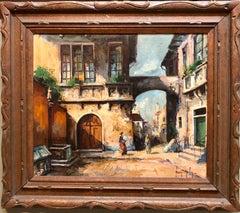 Hungarian Oil Painting 'Italian Street Scene' in Carved Frame