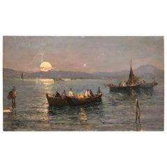 Attilio Pratella Rectangular Oil on Panel Italian Marine Landscape
