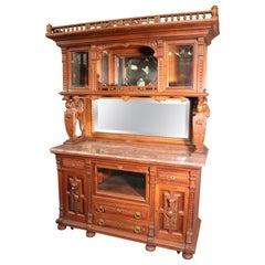 Attr. Daniel Pabst Carved Walnut Victorian Egret and Dog Figural China Cabinet