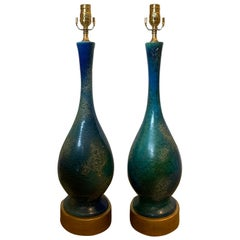 Pair of Mid-20th Century American Turquoise Glazed Royal Haeger Pottery Lamps
