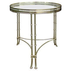 Maison Baguès, Attributed Mid-20th Century Brass & Glass Side Table with Gallery