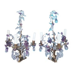 Maison Baguès Attributed Pair of Bronze & Crystal Girandole Candelabras W. Brown