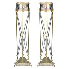Attributed to Maison Jansen Pair of Steel and Brass Torchères or Plant Stands