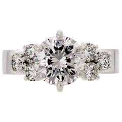 Attractive 2.05 Carat Diamond Platinum Lustrous Engagement Ring