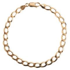 Attractive 9 Karat Yellow Gold Open Link Flat Curb Bracelet, Dated circa 1990s