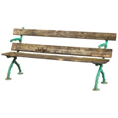 Attractive and Well Worn Victorian Period Garden Bench
