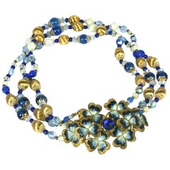 Attractive Beaded Necklace with Victorian Enamel Buckle