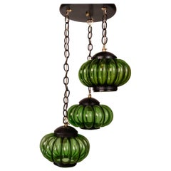 Attractive Chandelier with Three Pumpkin-Shaped Shades in Green Glass by Feders