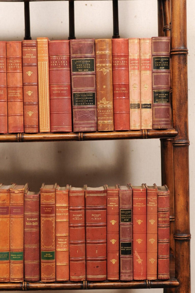 Embossed Attractive Collection of 100 Antique Swedish Leather-Bound Books For Sale