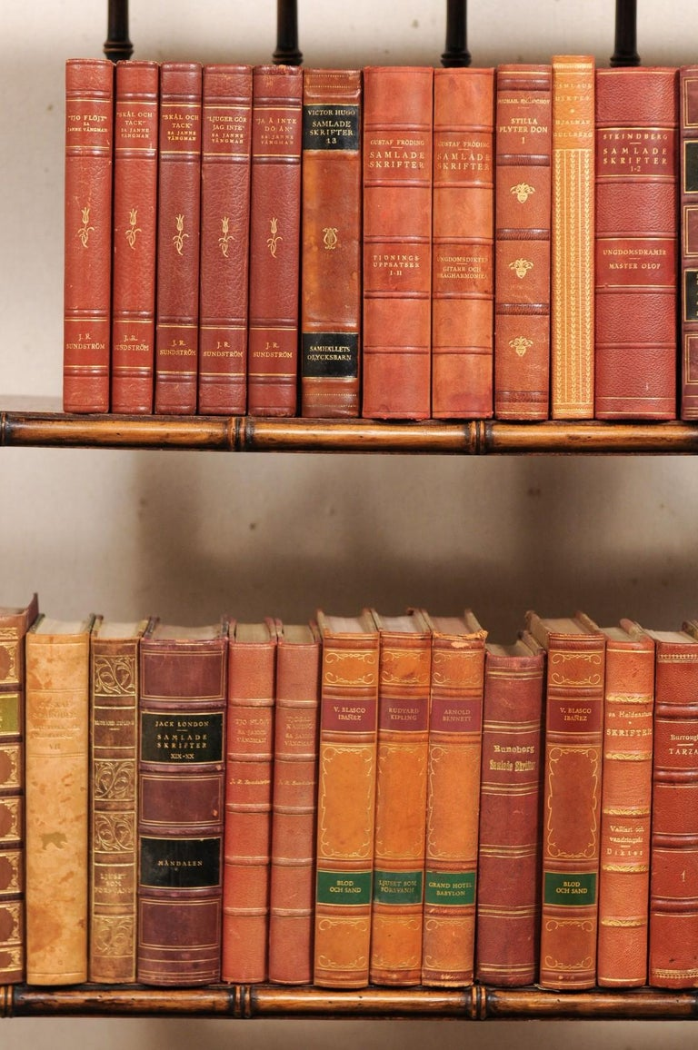Attractive Collection of 100 Antique Swedish Leather-Bound Books In Good Condition For Sale In Atlanta, GA
