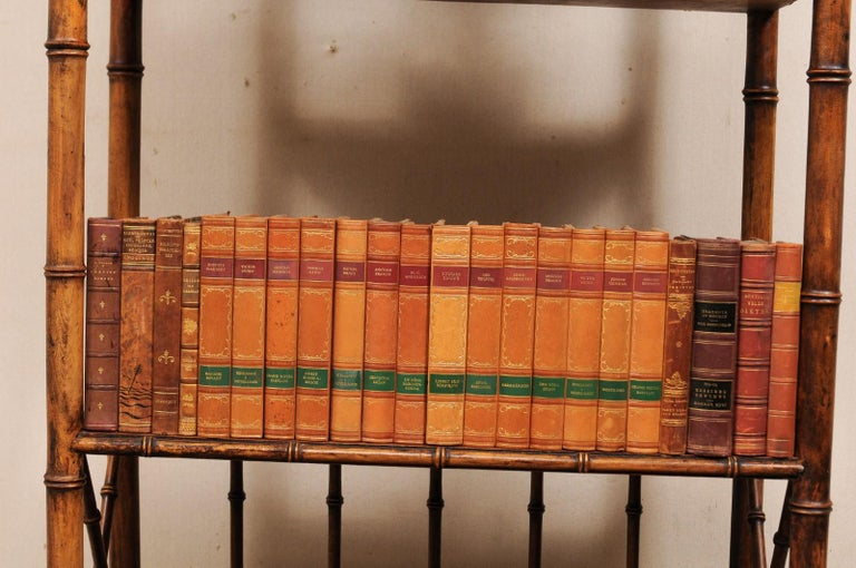 20th Century Attractive Collection of 100 Antique Swedish Leather-Bound Books For Sale
