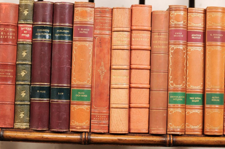Paper Attractive Collection of 100 Antique Swedish Leather-Bound Books For Sale