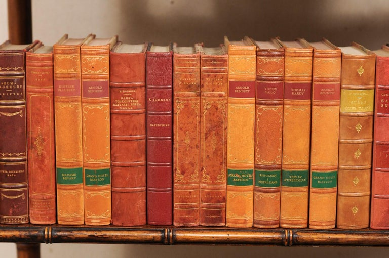 Attractive Collection of 100 Antique Swedish Leather-Bound Books For Sale 1