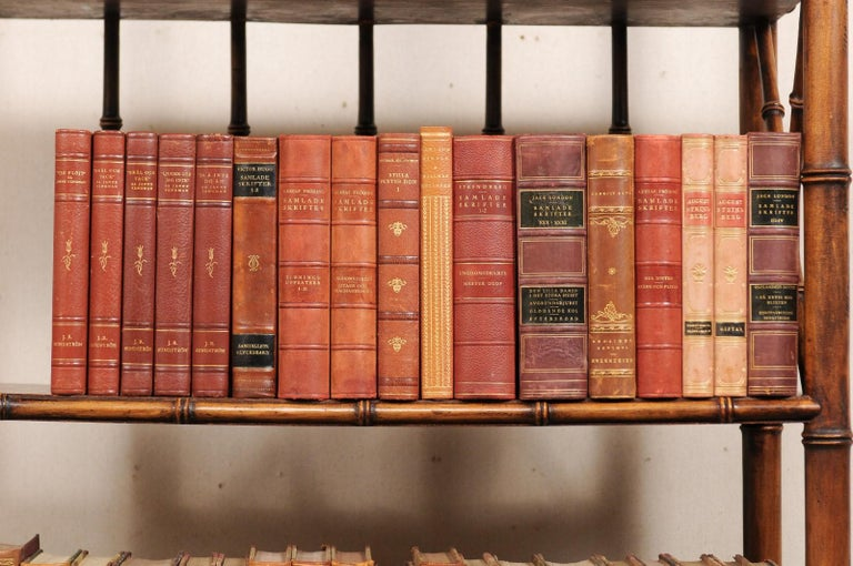 Attractive Collection of 100 Antique Swedish Leather-Bound Books For Sale 2
