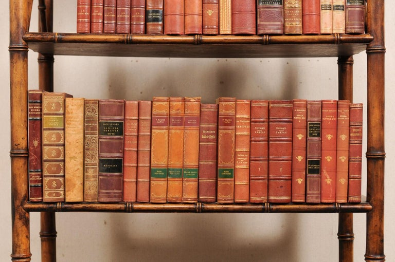 Attractive Collection of 100 Antique Swedish Leather-Bound Books For Sale 3